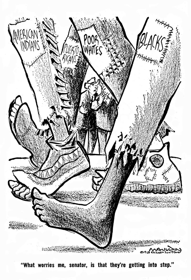 Political cartoon about the 1968 Poor People's Campaign.