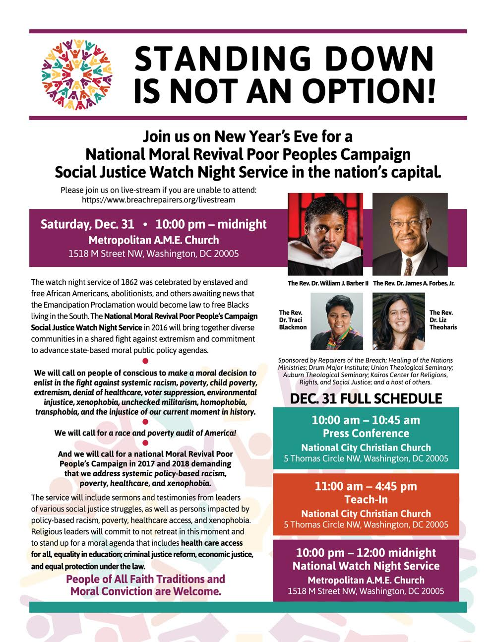 A flyer for the National Watch Night service.