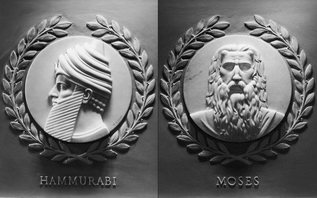 Marble relief portraits of Hammurabi and Moses, which are displayed at the US House of Representatives
