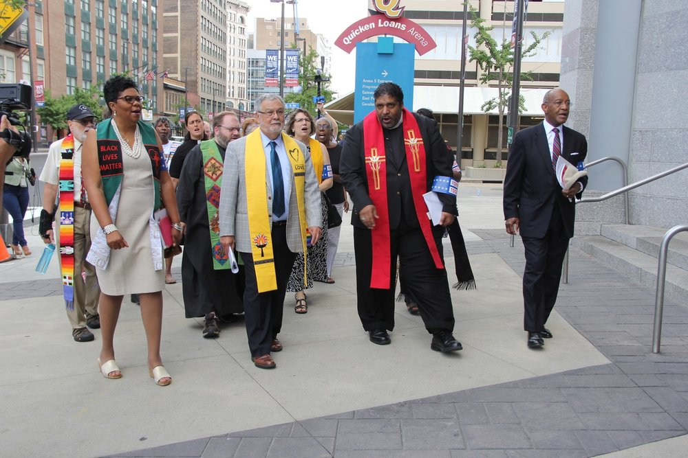 Rev. Traci Blackmon with Rev. Dr. William Barber, II and Rev. Dr. James Forbes.