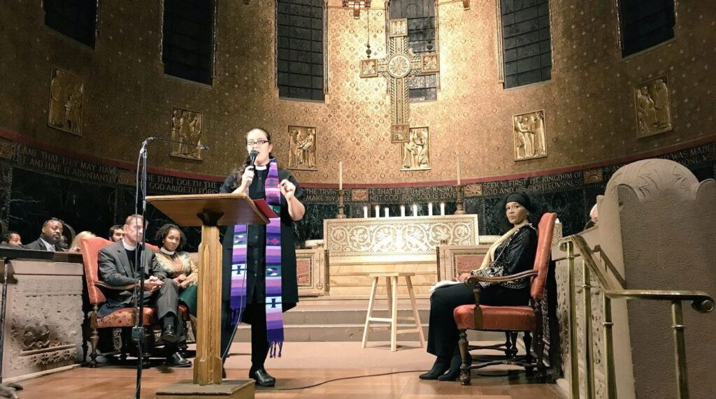 Rev. Dr. Liz Theoharis at the Boston Mass Meeting of the Poor People's Campaign